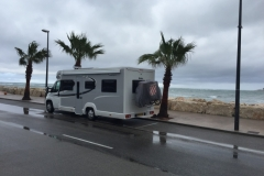 "030 Freedom Camp, Puerto Deportivo, Denia. The rain Poured and we parked on the harbour road with spectacular sea views. GPS 38°50'15.8""N 0°07'16.9""E38°50'15.8""N 0°07'16.9""E"