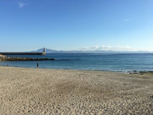 Tarifa Harbour with Africa in the background.
