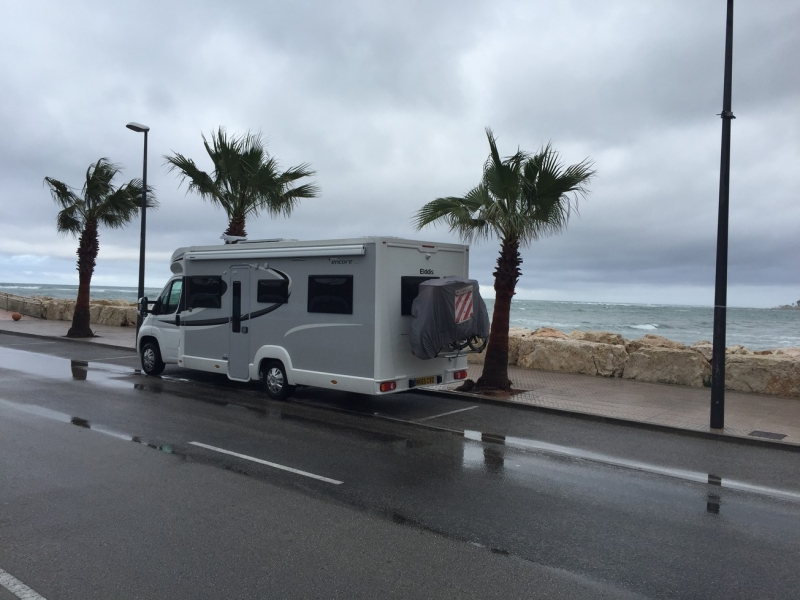 """030 Freedom Camp, Puerto Deportivo, Denia. The rain Poured and we parked on the harbour road with spectacular sea views. GPS 38°50'15.8""""N 0°07'16.9""""E38°50'15.8""""N 0°07'16.9""""E"""